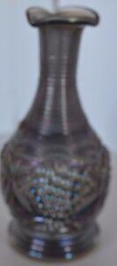Vintage Iridescent Blue Purple Grape Bottle Vase Glass