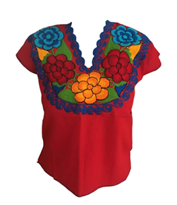 Floral-Mexican-Blouse-Embroidered-Authentic-Handmade-Cotton-Red