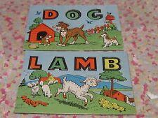 Vintage children's puzzle pair lamb and dog letters pictures retro sweet set