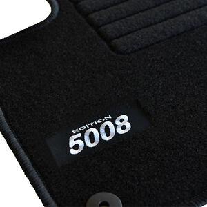 4 tapis sol moquette specifique logo blanc peugeot 5008 a partir de 10 2009 ebay. Black Bedroom Furniture Sets. Home Design Ideas