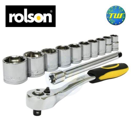 """Rolson Mechanics 3//8/"""" Drive Quick Release Ratchet /& 10pc Workshop Socket Set"""