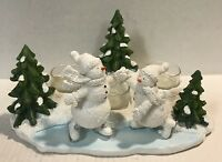 Yankee Candle Snowman Snow Days Skiing Skate Scene 3 Tealight Candle Holder