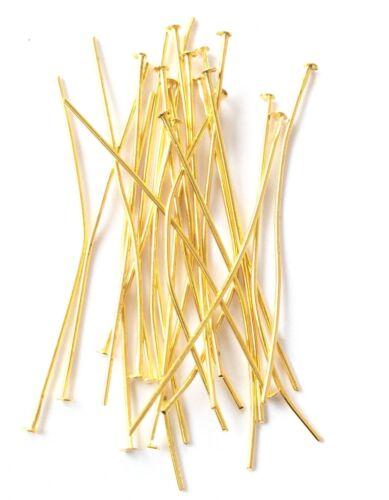 150PCS Gold Plated Head Pins 35mm long 22Gauge Earring Sulpplies