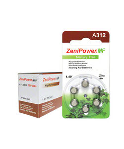 ZENIPOWER HEARING AID BATTERY A312 SIZE 312 12 CARDS OF 10 ...