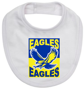 Baby Bib white cotton Australian rules football EAGLES on new born baby bib