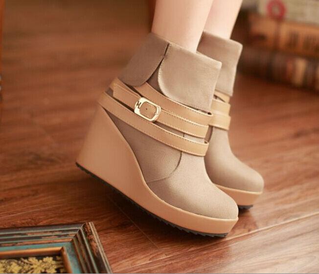 Bottes Hiver Hauts Confortable Chaussures pour Femmes Talon Compensé 9 cm Beige