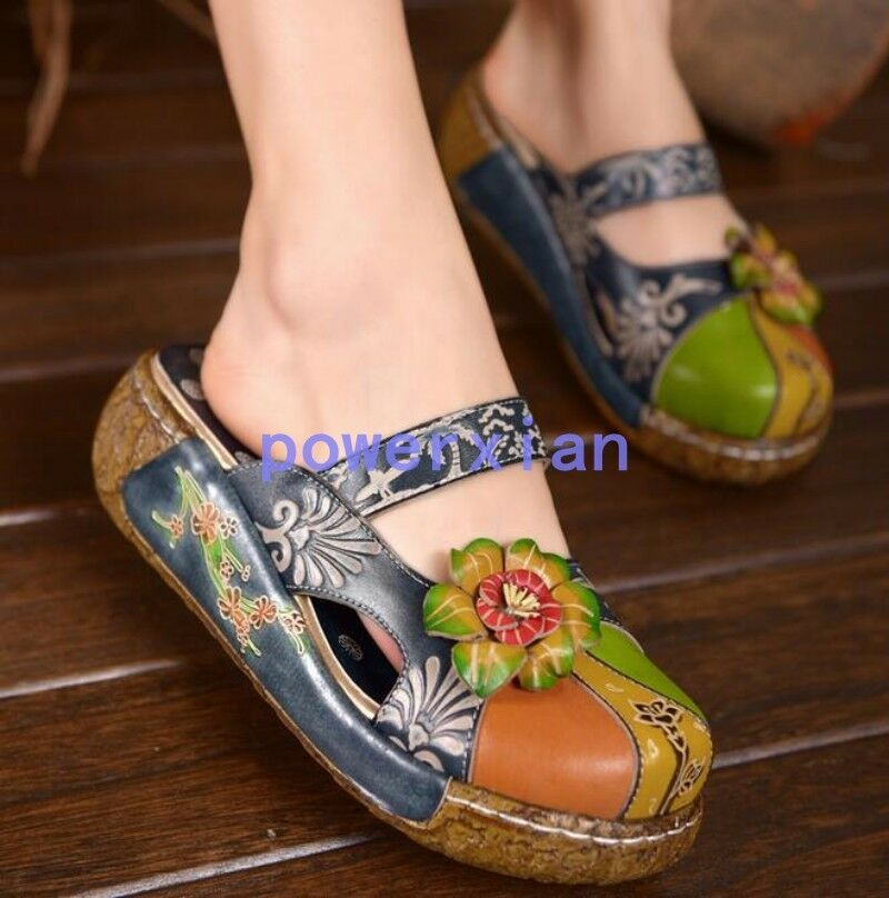 donna Floral Mules Mules Mules Slides Round Toe Wedge Sandals BOHO scarpe Slipper Summer 9 6126d9