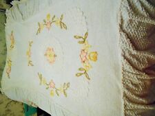 VINTAGE COTTON CANDLEWICK SEMI FITTED WHITE BEDSPREAD FLOWER PATTERN SINGLE BED