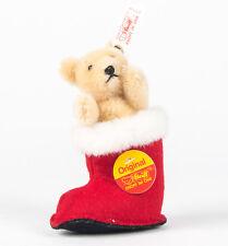 1997 STEIFF TEDDY BEAR Christmas GOLD BEAR IN RED FELT BOOT LE 689/5000