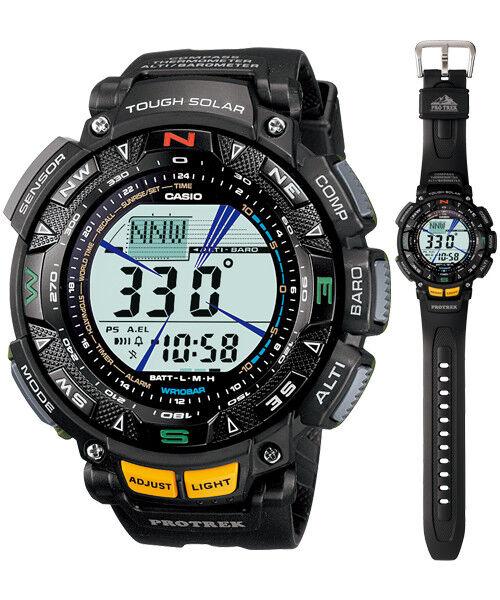 Casio Protrek Solar Digital Mens Black Triple Sensor Watch PRG240-1 PRG-240-1