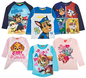 d15aecbf Official Paw Patrol Girls Boys Kids Long Sleeve Top Character Chase ...