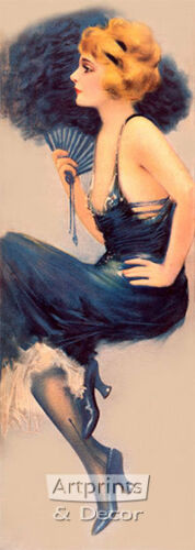 Lady in Blue by Hamilton King Art Print of Vintage Art