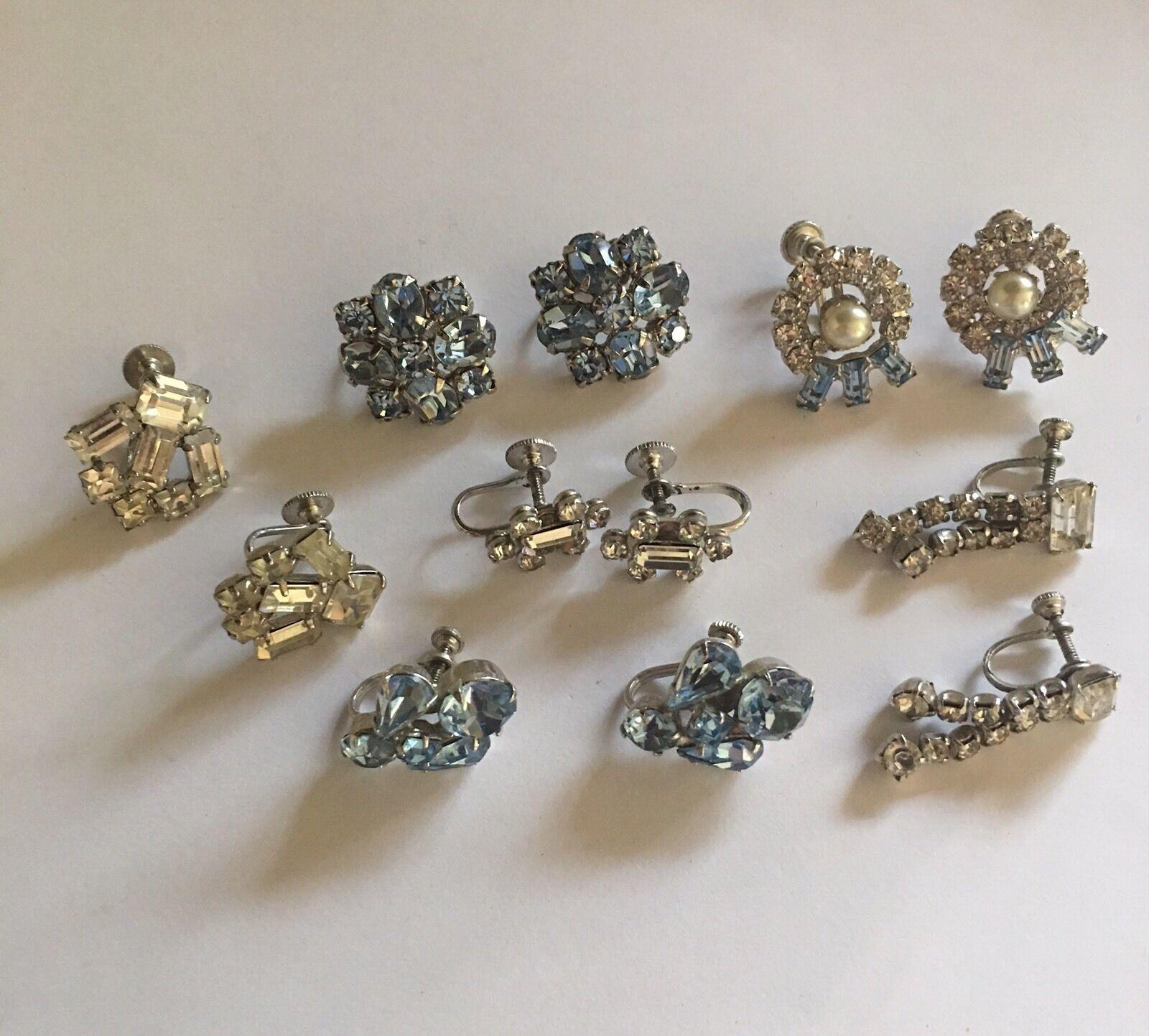 Lot Of 6 Costume Earrings Vintage Screw On Prong Set Rhinestones