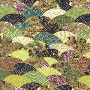 SCALLOP DESIGN: Green/Gold Metallic Asian Japanese Quilt Fabric ... : japanese quilt fabric - Adamdwight.com