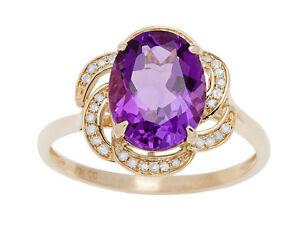 Oro-Amarillo-3-16ct-Ovalado-Amatista-y-Pave-Curvado-Halo-Anillo-con-Diamante