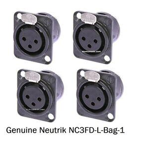 Neutrik NC3FD-L-B-1  Black 3-Pin XLR Panel Mt 4 Pack Gold Contacts Solder Cup