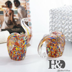 H-amp-D-2PC-Elephant-Sculpture-Figurine-Handmade-Craft-Animal-Hand-Blown-Glass-Art