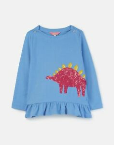 Joules Girls Esme Jersey Peplum Top  - LAKE BLUE DINO