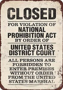 Closed Violation National Prohibition Act Reproduction ...