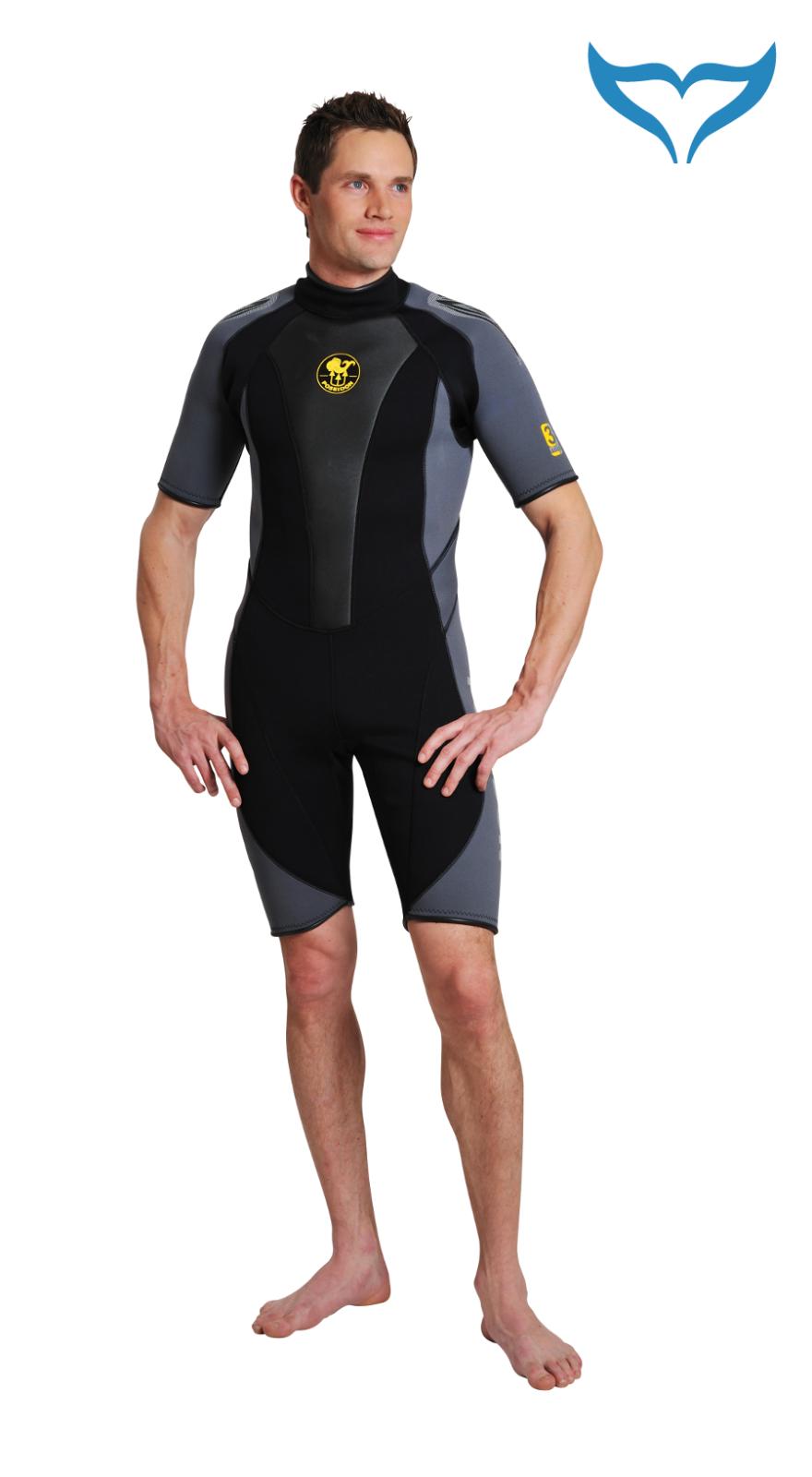 Poseidon Wetsuit Wetsuit Wetsuit Journey Shorty XS S 2XL 3XL 3mm schwarz grau Neopren male Herre    Luxus  a1e611