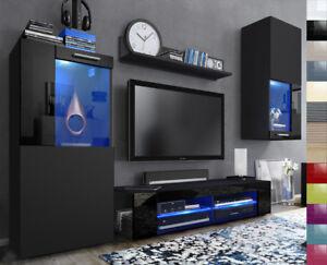 Das Bild Wird Geladen Wohnwand Anbauwand Fernsehwand Wohnzimmer Hochglanz  Front Schwarz Glaenzend