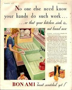 Details about 1933 Bon Ami Household Kitchen Sink Cleanser Great Colors  Vintage Print Ad 1041