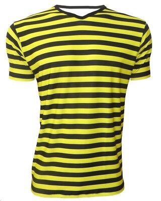 691a2134a58163 Details about Men's Bumble Bee Yellow & Black Stripes V-Neck T-Shirt Top  Fancy Dress Halloween