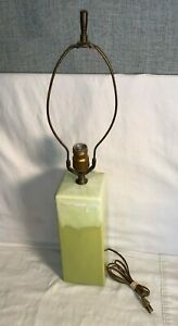 Vintage-MCM-1950s-1960s-DRIP-GLAZE-Pottery-ceramic-24-034-Table-LAMP-Yellow-Green