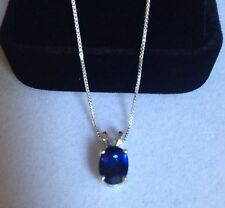 """BEAUTIFUL 2ct Sapphire Solitaire Pendant Sterling Silver Necklace NWT 18"""""""
