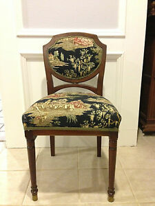 Image Is Loading Antique Tapestry Chair Tapered Legs Louis XV Style
