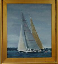 """12M Yachts sailors oil painting """"AMERICA II and LIONHEART"""" 24"""" x 20"""" +frame"""