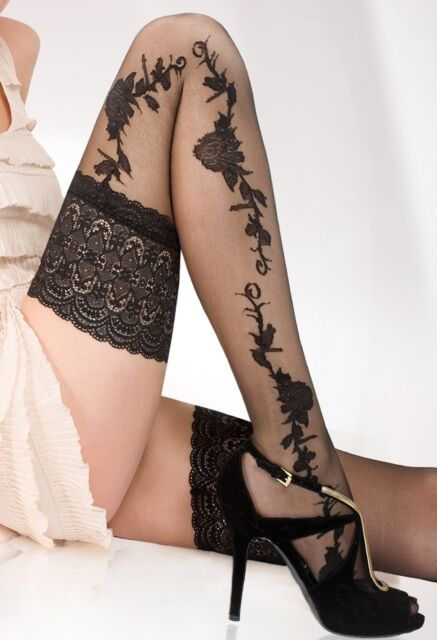 Women Sheer Hold Ups Floral Lace Top Stockings 20 Den XS-2XL
