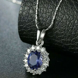 18-Karat-Weissgold-gefuellt-Oval-Blue-Sapphire-Topaz-Anhaenger-18-034-Kette-Halskette