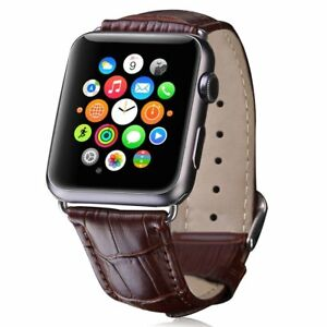 Blue Genuine Leather Crocodile Strap Band For Apple Watch 38mm 40mm 42mm 44mm The Latest Fashion Smart Watches