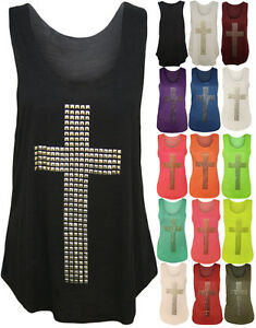NEW-WOMENS-LADIES-GOTHIC-STUD-CROSS-NEON-RACER-BACK-SLEEVELESS-T-SHIRT-VEST-TOP
