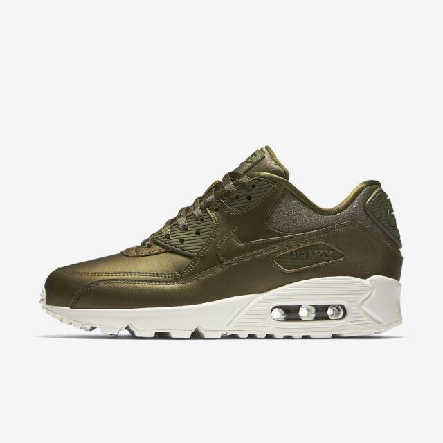 New Nike Women's Air Max 90 Premium Shoes (896497 901) Metallic Field