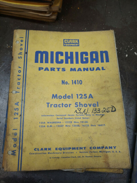 Clark Michigan 125a Tractor Shovel Parts Manual No 1410