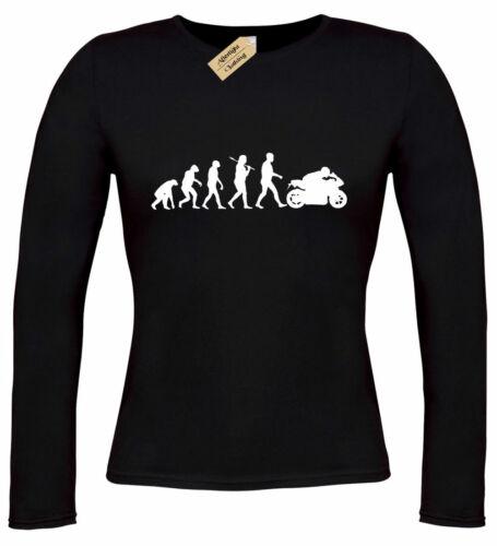 Womens Evolution Of Biker T Shirt Motorbike rider bike long sleeve ladies top