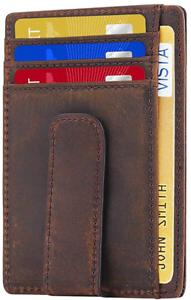 Beartwo RFID Blocking Minimalist Genuine Leather Money Clip Wallet Slim Front Po