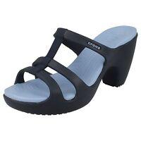"Ladies Crocs Navy/Light Blue Slip On Mule Sandals with 4"" Heel Style CYPRUS III"