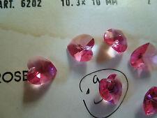 Swarovski Art 6202 Light Rose HEART 10.3x10mm 30 beads a tray Vintage NOS