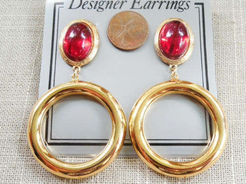 """Vintage NOS cool pr 80s red jeweled gold tone 2 3//4/"""" hoop pcd earrings D12"""