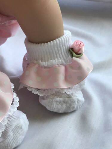 White Baby Girls Lace Frill Socks Wide Pink Ribbon Rosebud Trim 0-3 months