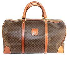 Auth CELINE paris macadam pattern PVC leather Travel  Boston 45 hand Bag Brown