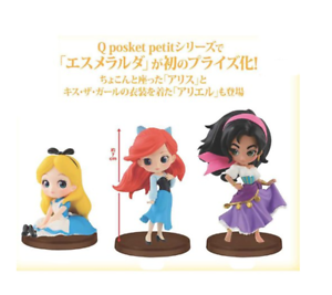 Disney-Characters-Q-posket-petit-Alice-Ariel-Esmeralda-all-3-set-BANPRESTO-JAPAN