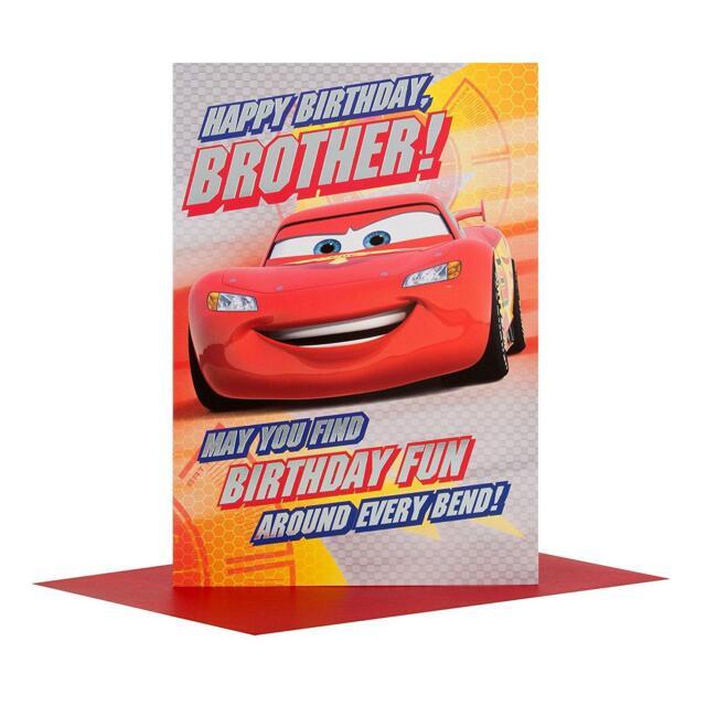 Cars Brother Birthday Card Disney Pixar Lighting Mcqueen Gift Ebay
