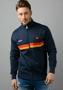 Ellesse-Mens-Track-Top-Jacket-Full-Zip-Retro-Navy-Blue-Logo-Badges-RRP-70