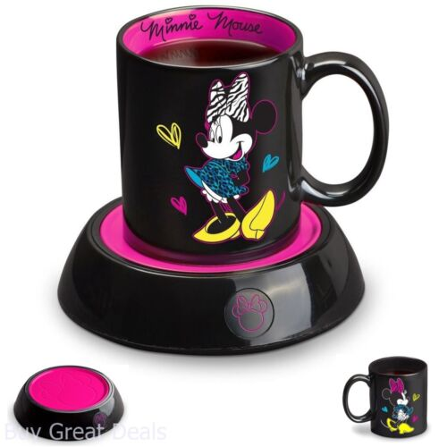 Kids Drink Disney Minnie Mouse Mug Warmer Coffee Cup Black Pink Home Office Gift