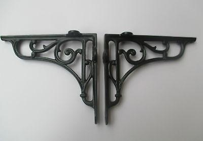 "7.5/"" PAIR OF BLACK cast iron Victorian scroll ornate shelf support wall brackets"