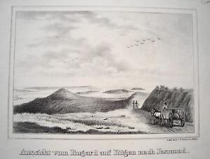Ruegen-Rugard-Jasmund-Mecklenburg-Vorpommern-alte-Lithographie-Sanne-1840